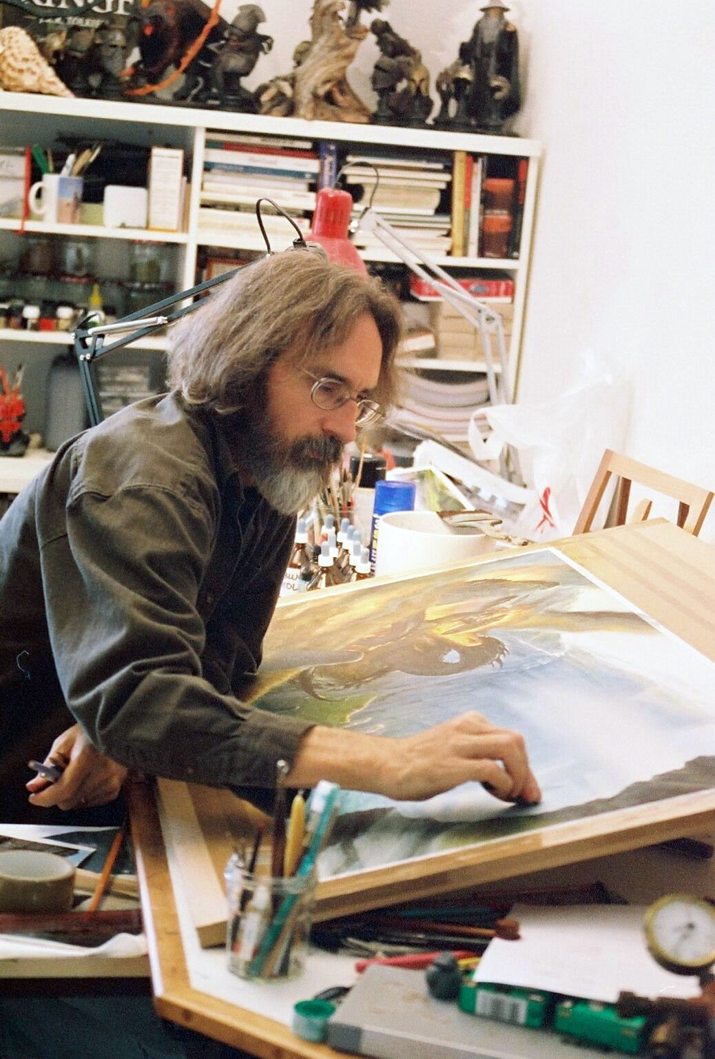 John at work in his Switzerland studio